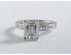 2.74 Carat Diamond Princess Cut Channel Set Diamond Engagement Ring | Blue Nile Engagement Rings