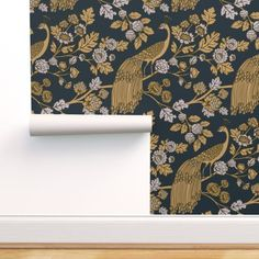 Peacock Wallpaper - Peacock Garden Midnight Gold By Ceciliamok - Bird Custom Printed Removable Self Adhesive Wallpaper Roll by Spoonflower Wallpaper Panels, Self Adhesive Wallpaper, Wallpaper Roll, Peel And Stick Wallpaper, Custom Wallpaper, Peacock Wallpaper, Diy Home, Home Decor, Drawer And Shelf Liners