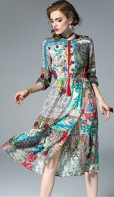 Ethnic O-Neck 3/4 Sleeve Floral Print Silk Dress