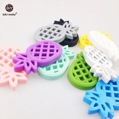 Let's Make Silicone Ice Cream And Donut Teether 10pcs Food Grade Teether BPA Free Accessory DIY Crafts Necklace Pendant