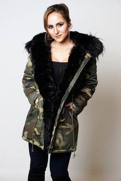 TIFFANY BLACK CAMOUFLAGE FAUX FUR HOODED COAT
