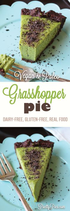 100% natural mint cream pie with a chewy no-bake chocolate crust: Grasshopper Pie! Free from dairy, gluten, refined sugar, artificial coloring, eggs and alcohol. #vegan & #Paleo Recipe from PrettyPies.com