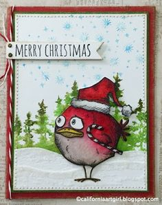 "Richele Christensen: Those crazy birds AKA ""Bird Crazy"". Cat Cards, Bird Cards, Crazy Bird, Crazy Cats, Crazy Animals, Winter Cards, Holiday Cards, Christmas Bird, Merry Christmas"