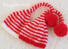 Christmas Elf Hat,Newborn Hat,Beanie,Infant Hat,Christmas Hat, Red Hat,Newborn Photography, Christmas Prop, Red Pompoms,Ready to Ship