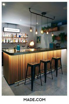 Super Home Bar Counter Design Light Fixtures 35 Ideas Home Bar Rooms, Diy Home Bar, Modern Home Bar, Home Bar Decor, Bars For Home, Home Bar Counter, Bar Counter Design, Cafe Counter, Kitchen Bar Design
