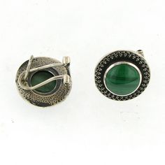 Sterling Silver.925 Hand Crafted Earrings With Malachite.