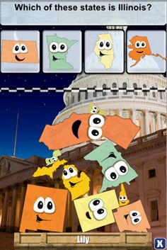 Stack the States - Geography Game App. Kids learn geography while playing games.    #Geography #Apps #Education #homeschool #Kids
