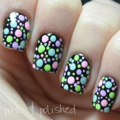 Head over Heels - Endless Madhouse!: Cute Ideas for Easter Nails! Get Nails, Fancy Nails, Pretty Nails, Hair And Nails, Easter Nail Art, Dot Nail Art, Manicure Y Pedicure, Creative Nails, Holiday Nails