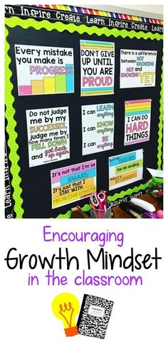 Encouraging growth mindset in the classrom math posters middle school, change mindset, classroom quotes 5th Grade Classroom, Classroom Setup, School Classroom, Classroom Organization, Classroom Management, Desk Organization, Future Classroom, Science Classroom Decorations, Classroom Setting