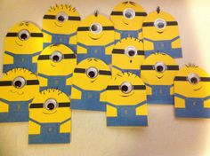 """Ramsey's birthday invites.  Wanted Despicable Me """"one eyed"""" minions for his birthday cake, made invites to match his wish."""