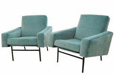 Pierre Guariche Pair Of Mid Century Club Chairs  MidCentury Modern, Metal, Upholstery  Fabric, Lounge Chair by Studio Van Den Akker