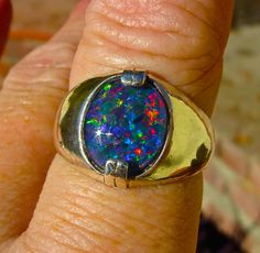 Men's Ring. Genuine Australian Black Opal ring. by AmyKJewels