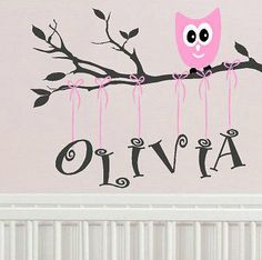 owl decal Personalized childrens nursery    by itswritteninvinyl, $34.00