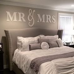 Mr & Mrs Wall Sign Above Bed Decor - Mr and Mrs Sign for Over Headboard - Home Decor Bedroom Bridal Gift (Item - - お部屋 - Bedroom Decor Teenage Room Decor, Above Bed Decor, Master Room, Master Bedrooms, Master Suite, Small Bedrooms, Master Bed Room Ideas, Master Bath, Teenage Bedrooms