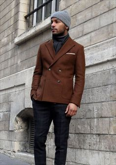 A great mens winter layering look with the turtleneck, double breasted blazer, scarf and beanie.  And can we talk about how much we love the subtle interest the subdued plaid trousers bring?!