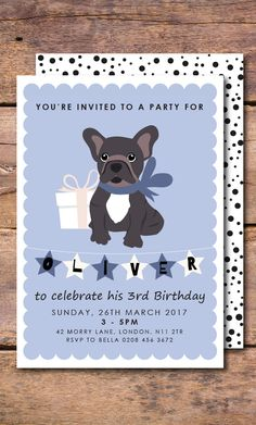 A cute French Bulldog birthday invitation with baby blue background design. This dog birthday invitation would delight any birthday boy or birthday girl especially a Frenchie lover. How about throwing a French Bulldog Party? Use this invite to tell all your dog loving guests.