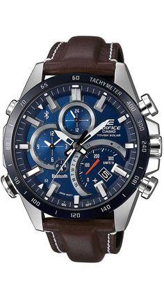 G-Shock Men's Solar Analog-Digital Edifice Brown Leather Strap Watch Men's Watches, Watches Online, Luxury Watches, Cool Watches, Watches For Men, Casio Edifice, Bluetooth Watch, Solar Watch, Brown Leather Strap Watch