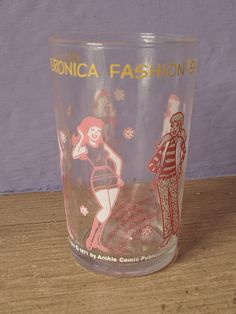 vintage 1970's pink drinking glass Archie's juice by ShoponSherman, $8.00