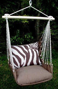 Zebra Indoor/Outdoor Swing Chair - Acacia - MUST HAVE.