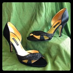 💥‼️$8-15 Section LoW as I Go BUNDLE SAVE 10%‼️💥 Capparros flawless Satin Black Pumps with Sequences Open toe Strap are Perfect Heel to Dress up any occasion! Will Bundle! These are in mint condition. Leather Sole Caparros Shoes