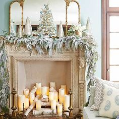 Go lush with a layer of flocked garland along your fireplace mantel. Intertwine with eucalyptus or bay leaf garland. The cool greens look positively stunning against the silvery evergreen. Go to the next slide to see how to flock./