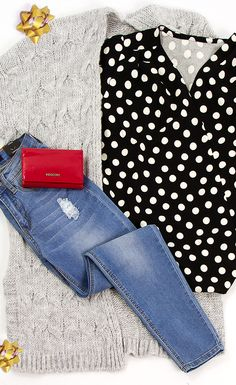 sweter, bluzka w kropki, jeansy, portfel Polka Dot Top, Adidas, Women, Fashion, Moda, Fashion Styles, Fashion Illustrations, Woman
