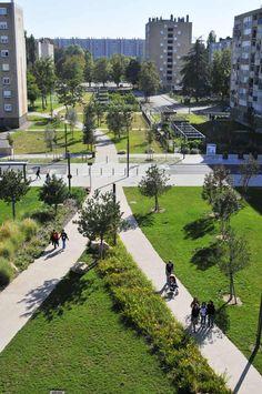 Collectivités Aménagement de quartier ARGENT > Mairie de Mâcon et Mâcon Habitat pour le Parc Promenade du Quartier Marbé (71 – Bourgogne) Quand le paysage joue un rôle social et ouvre un quartier sur la ville.