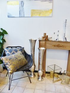 Bodenvase, Deko, Vase deco Ø18x100 cm HEDMARK raw nickel | eBay