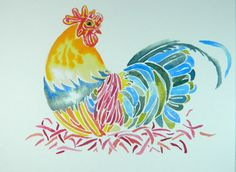 Rooster Kitchen Home Decor. Brightly Colored print by ViviansART #homedecor #chickens