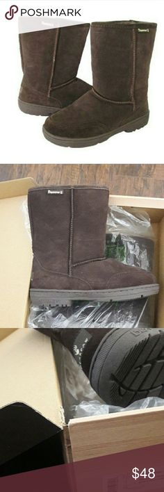 BearPaw Ugg style Meadow short boots Chocolate NIB BEARPAW offers a stylishly natural look specially designed for casual comfort and cold-weather wear. The soft suede upper is accented by durably stitched seams, while the luxurious shearling lining offers extra softness, padding, and warmth for comfortable, all-day wear. The treaded sole provides added durability and traction for active feet. BearPaw Shoes Winter & Rain Boots