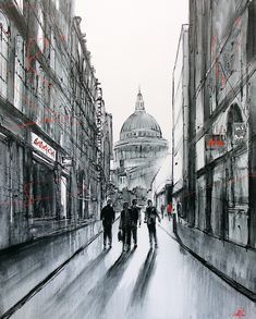 40″ x 50″, Mixed media original painting on boxed canvas by cityscape artist Paul Kenton  At the end of a long day in the city, the sun casts long shadows as a group of friends head away from St Paul's Cathedral, one of the most iconic architectural landmarks in London. Painted using a monochrome palette and finished with subtle splashes of red and black paint. Original Paintings, Street Painting, Cityscape, London Cityscape, Monochrome, Cityscape Painting, Monochrome Painting, Paul Kenton, Architecture Painting
