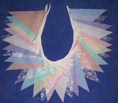 50ft (15m) FABRIC LACE BUNTING wedding SHABBY VINTAGE CHIC IVORY CREAM PINK BLUE