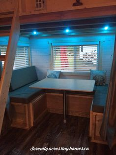 Serenity Acres Tiny Home Serenity Acres Tiny Home Galatea Danley dixiewolf Tiny Homes Make one side of the bench with a fold down table […] guest room no window Built In Couch, Dining Booth, Clerestory Windows, Tiny Cabins, Living Room Windows, Tiny House Living, Tiny House On Wheels, House Floor Plans, Interior Architecture
