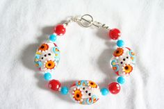 Patterned Red Aqua White Clear and Orange by BrickRoadBeading
