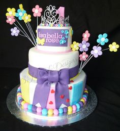 Girly, colourful princess cake - SJ's Cake Designs