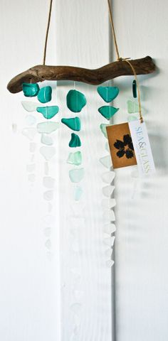 Breathtaking, this has to be my favorite one so far >Teal Ombre Sea Glass Mobile / Wall Hanging / by SeaAndGlassOnEtsy