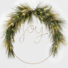 Prelit Joy Wreath - Emily Henderson and Target. French Country Christmas, Scandi Christmas, Christmas Mood, Christmas Wreaths, Christmas Decorations, Holiday Decorating, Christmas Ideas, Merry Christmas, Decorating Ideas