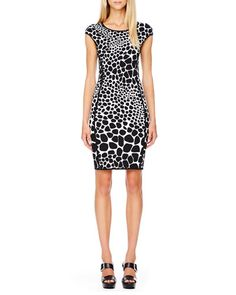 T8X1E Michael Kors Animal-Print Fitted Dress