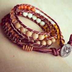 Earth toned triple wrap beaded bracelet