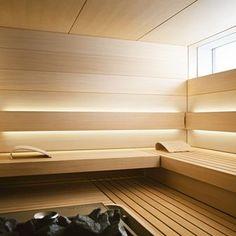 See the home page to enter KLAFS world of saunas and spas! Spas, Sauna Steam Room, Sauna Room, Design Sauna, Modern Saunas, Sauna Lights, Sauna Hammam, Piscina Spa, Spa Interior Design