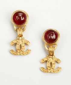 Chanel Gold Metal And Gripoix Gl Dangling Cc Vintage Clip Earrings