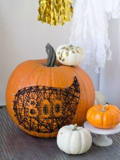 do it!!--DIY String & Nail Art Pumpkin - Lovely Indeed
