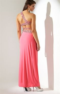 Deb Shops Long Prom Dress with #One Shoulder and #Open Back with #Stone Straps $134.90
