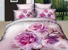 100% de cama de algodão conjunto 4 peças para o inverno vivid pink rose colcha de cama conjunto roupa de cama roupa de cama en...