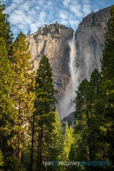 Early morning light highlights Yosemite Falls in Yosemite National Park, California.