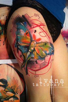 Funky Watercolor Luna Moth butterfly