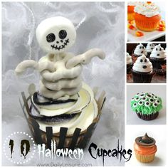 10 Halloween Cupcakes ~ Fun for kids and easy to make!!