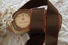 "10 Yard SPOOL 3/"" Brown RAYON TAFFETA RIBBON TRIM VTG ANTQ made in Switzerland"