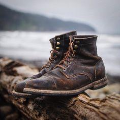 Beautifully worn Oak Street Bootmakers Custom Shop   Brown Waxed Flesh Cap-toe Dainite Sole Trench Boot. Email us for custom shop entities