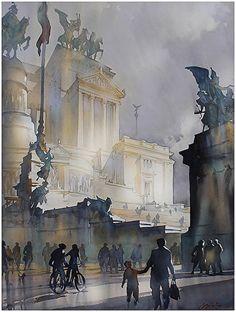 """""""Shadows - Altare Della Patri - Rome"""" by Thomas  W. Schaller Watercolor ~ 30 inches x 22 inches"""
